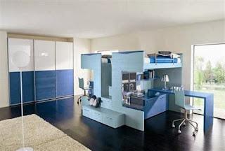 Dormitorio azul para dos chicos