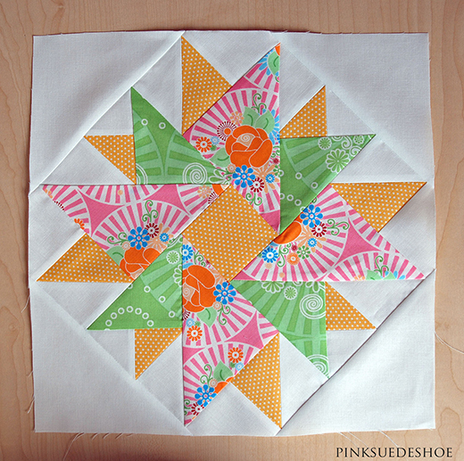 Double Aster Block Free Quilt Pattern