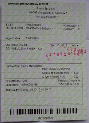 Koleje Małopolskie - bilet czasowy
