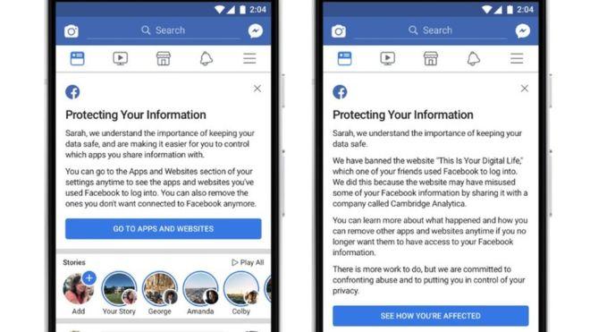 Qué dice el mensaje que Facebook empezó a enviar a los 87 millones de usuarios cuyos datos personales fueron usados por Cambridge Analytica