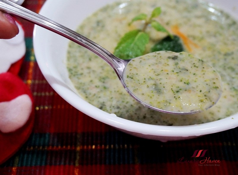 christmas food creamy broccoli soup with mint leaves