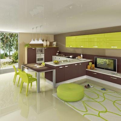Cocina en verde marrón