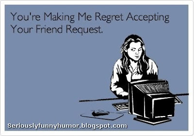 Girl in front of computer Facebook meme - You're making me regret accepting your friend request