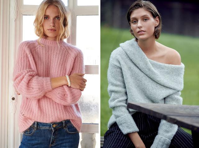 Розовый и серый мохеровый свитер