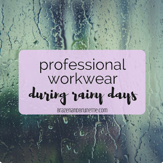 What you need to look professional when it's raining is a rain coat, an umbrella, rain boots, proper clothing, and maybe even a rain hat to keep your work outfit dry while still looking professional. how to look professional when it's raining. rainy day professional outfit. rainy work outfit inspiration. how to look professional and not get wet when it's raining | brazenandbrunette.com