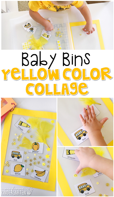 This yellow color collage is great for learning the color yellow and it is a completely baby safe craft. Plus there's no glue required so no sticky mess or glue eating to clean up! Baby Bins are perfect for learning with little ones between 12-24 months old.