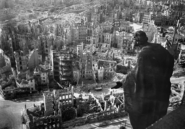 A view taken from Dresden's town hall of the destroyed Old Town after the allied bombings between February 13 and 15, 1945. Some 3,600 aircraft dropped more than 3,900 tons of high-explosive bombs and incendiary devices on the German city. The resulting firestorm destroyed 15 square miles of the city center, and killed more than 22,000.