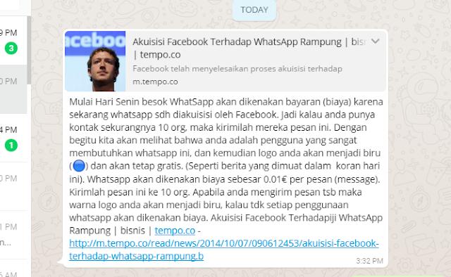 Stop meneruskan pesan hoax berantai di WhatsApp