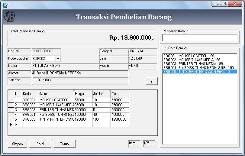 Membuat Form Transaksi Pembelian Barang VB 6.0 - Belajar VB