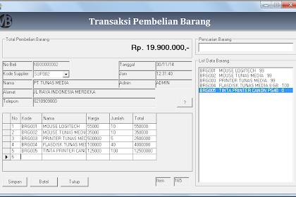 Tutorial Membuat Form Transaksi Pembelian Program Penjualan VB 6.0 - Part11