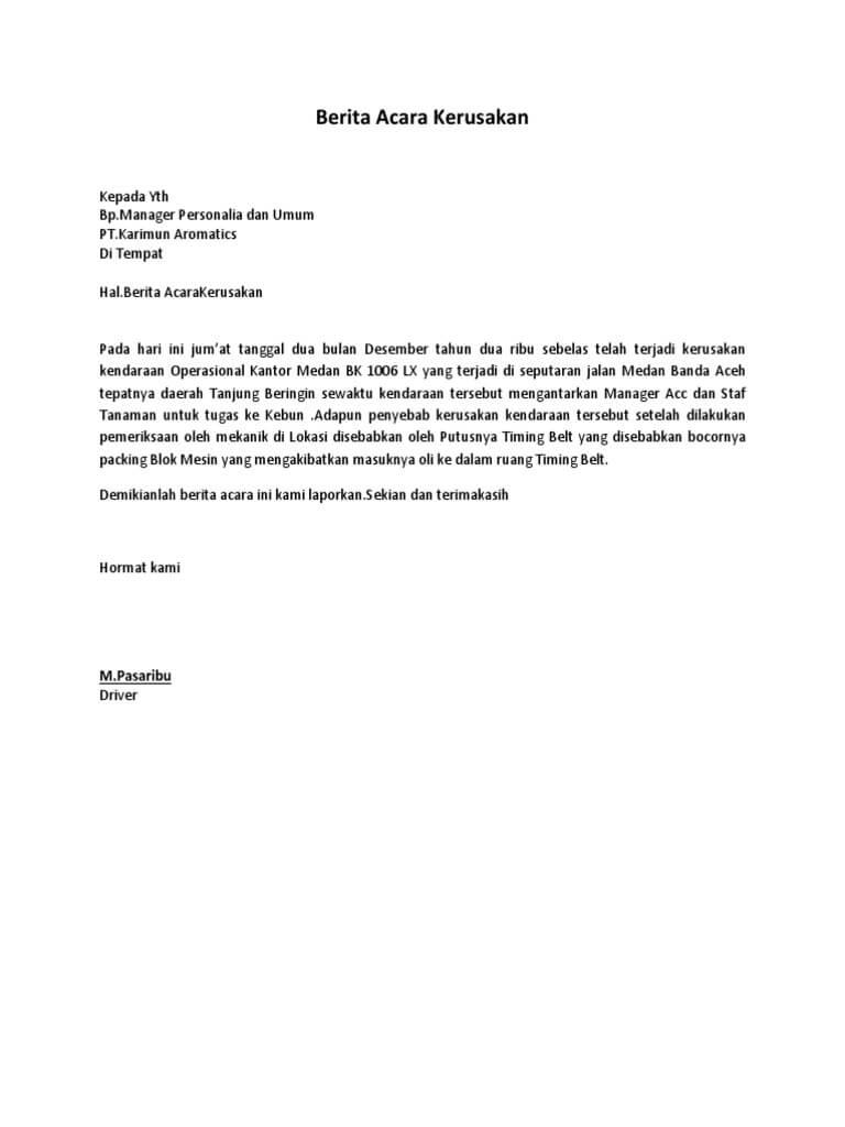 Herunterladen Surat Berita Acara Kerusakan Barang Haymarazatk