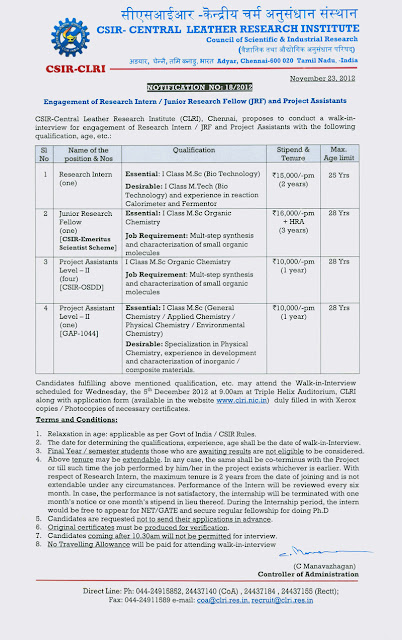 to get eassy of clri and Placement papers uncategorized clri jobs 2017: 01 project assistant vacancy for bsc, diploma salary 10,000 published on 04th august 2017 on 04/8/2017, clri.