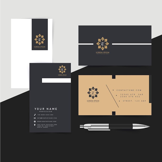 Corporate identity templates floral decor elegant black design Free vector