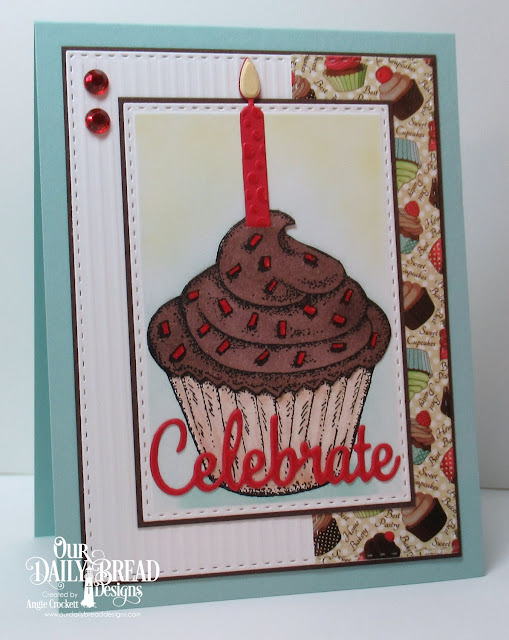 ODBD Cupcake, ODBD Custom Birthday Candles Dies, ODBD Custom Celebrate and Wish Dies, ODBD Custom Double Stitched Rectangles Dies, NCC Sweet Shoppe Paper Collection, Card Designer Angie Crockett