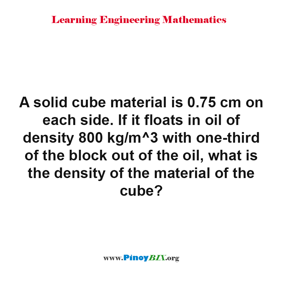 What is the density of the material of the cube?