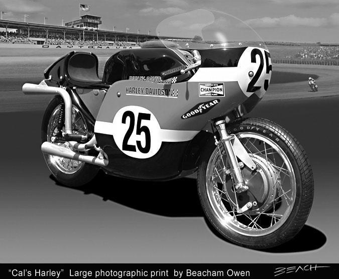 Vintage type photo print by Beacham Owen aka Beach Owen of Cal Rayborn's Daytona 200 winning Harley Davidson XRTT roadracer 1968 and 1969