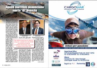 """OTTOBRE 2018 PAG.18 - Agenti marittimi denunciano morte """"di"""" Venezia"""