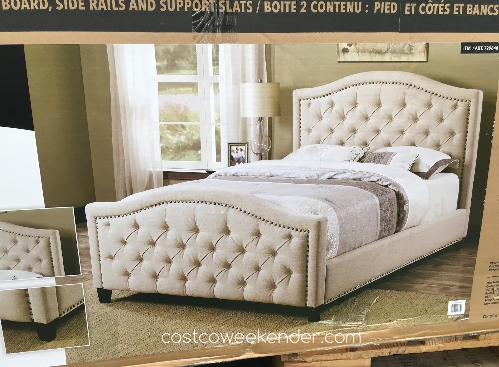 Pulaski furniture queen upholstered bed costco weekender for Upholstered beds