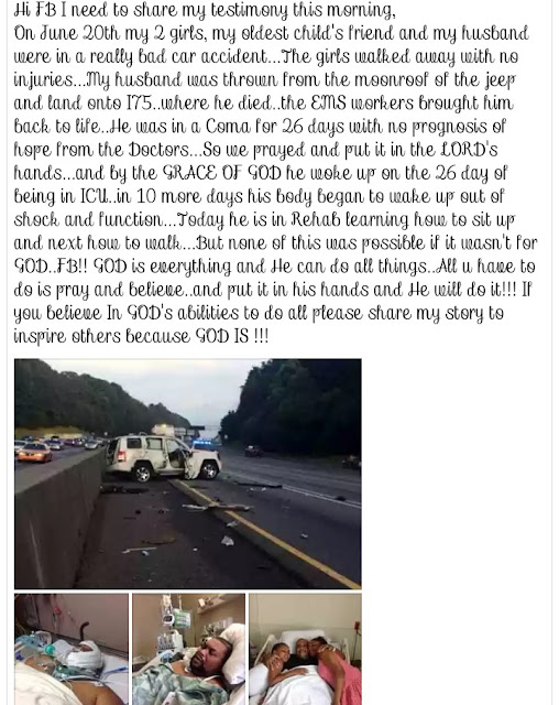 Woman shares touching testimony how her husband died in a fatal Accident and resurrected few days after