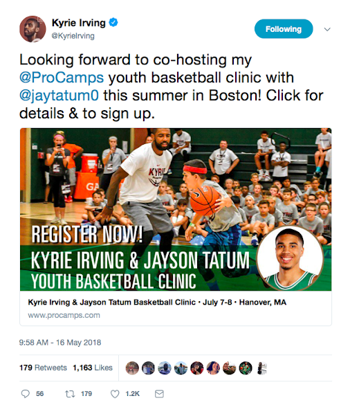 Kyrie Irving and Jayson Tatum cohosting ProCamps in Boston this summer #NBA #CUsRise #ProCamps