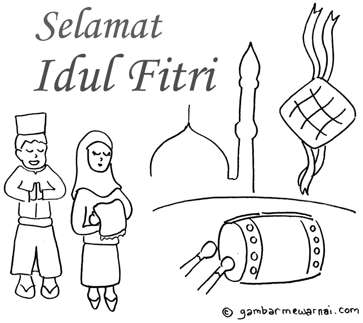 [Edisi Special] Mewarnai Gambar Tema Lebaran (Idul Fitri
