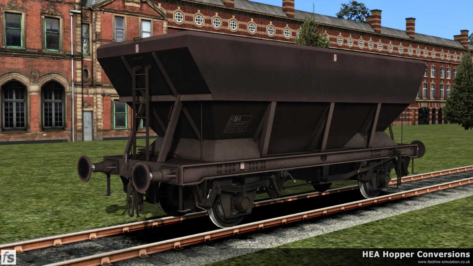 Fastline Simulation - HEA Conversions: An earlier built HEA hopper with central ladder has managed to cling on to it's maroon livery but has been converted to an HSA scrap wagon. It can be assumed that conversion in this case has involved welding a plate across the hopper bottoms to provide a level base to the wagon as only the TOPS code has been changed.