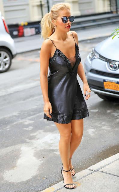 Rita Ora in Black Mini Dress out in New York