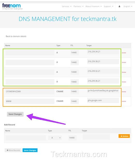 How to setup freenom DNS for blogger website