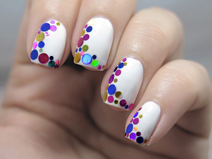 Nail Art // Side French Circle Glitter Placement Nails ...