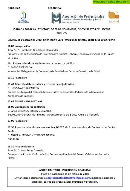 El Cabildo organiza una jornada formativa sobre la nueva Ley de Contratos del Sector Público