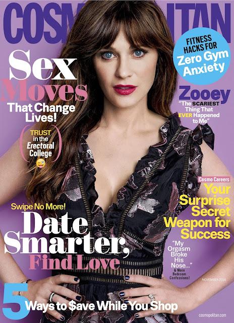 Actress, Singer, Model, @ Zooey Deschanel - Cosmopolitan November 2016