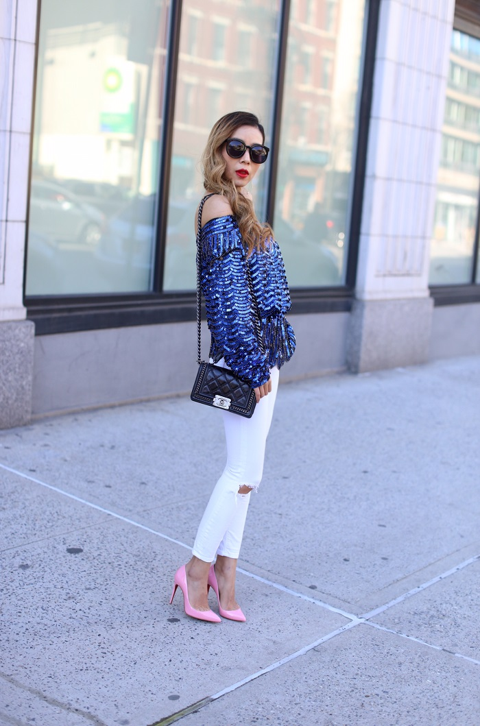 Endless rose aura top, asos white jeans, christian louboutin so kate heels, karen walker super duper sunglasses, drop earrings, chanel boy bag, off shoulder top, spring outfit ideas