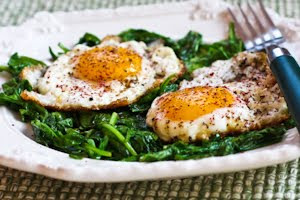Eggs Fried in Olive Oil with Wilted Greens and Sumac found on KalynsKitchen.com