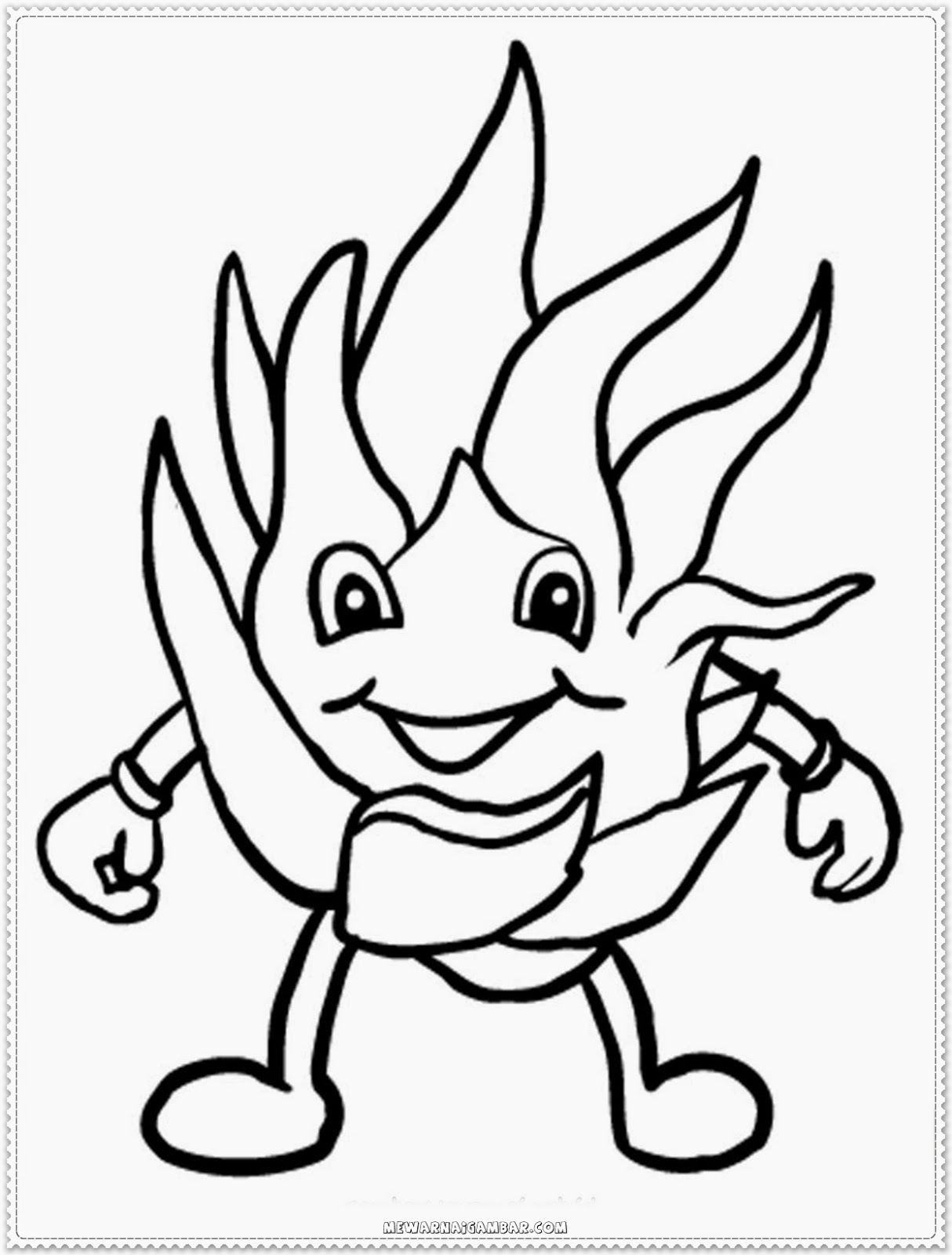 Dragon Fruit Cartoon Coloring Pages Printable