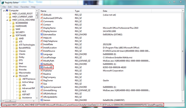 Find windows 7 product key