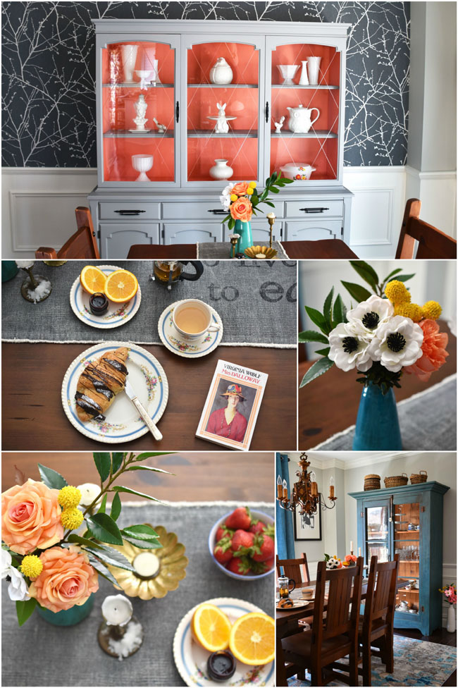 A sophisticated, but still fun dining room makeover in teal, gray and peach