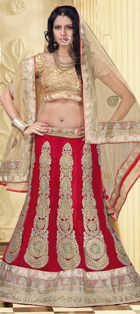 Stunning Photo Of Gorgeous Indian Model In Stylish Red Lehenga.