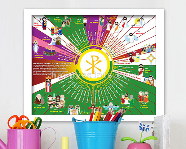 happy saints liturgical calendar 2018 poster