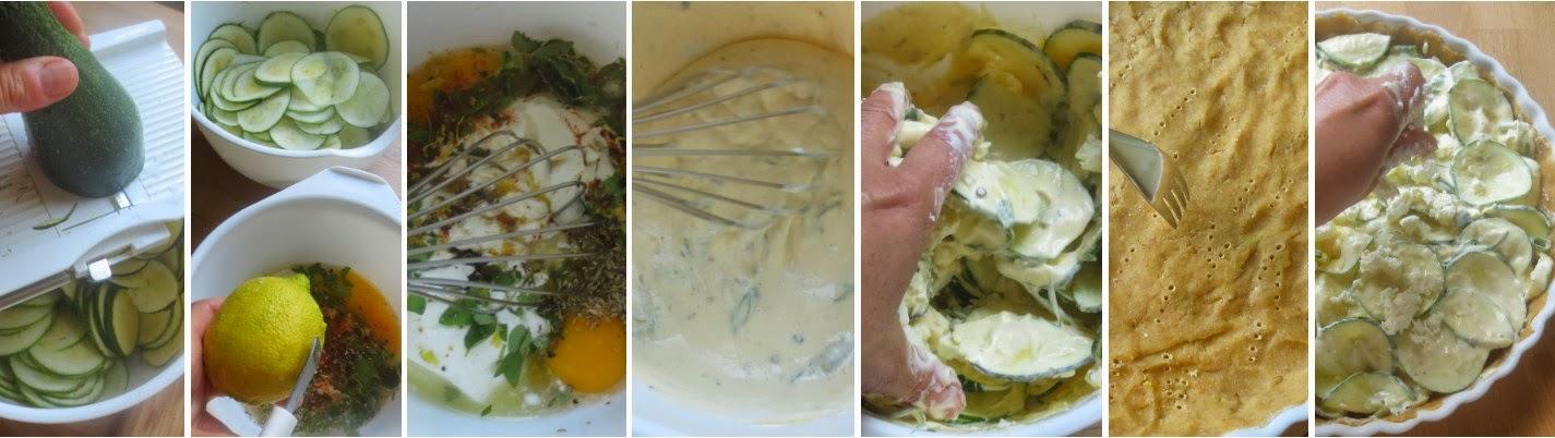 Zubereitung Zucchini-Feta-Quiche