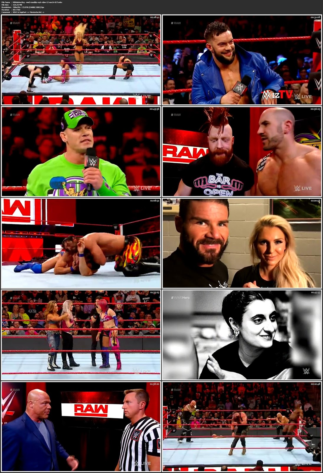 WWE Monday Night Raw 12th March 2018 480p HDTV 400MB Download