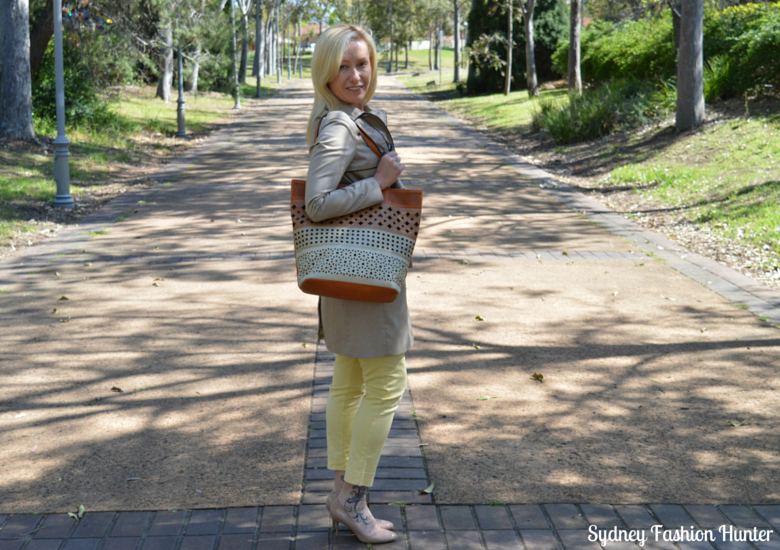Sydney Fashion Hunter - Fresh Fashion Forum #2 - Welcome Spring - Yellow Pants, Ivory Shirt, Khaki Trench, Nude Pumps, Tan Tote