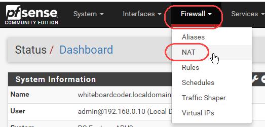WhiteBoard Coder: Pfsense setting up port forwarding