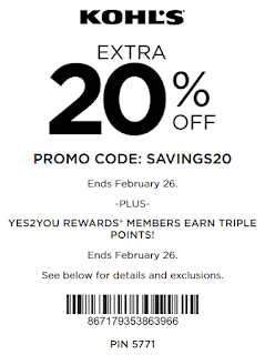 Kohl's coupon 20% off $100 OR 15% off purchase
