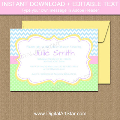 pastel baby shower invitation template