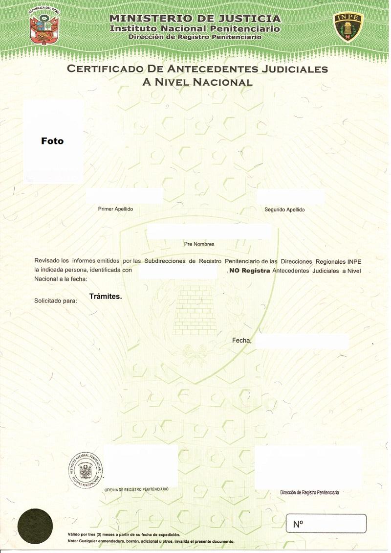 Obtención de certificado de antecedentes judiciales