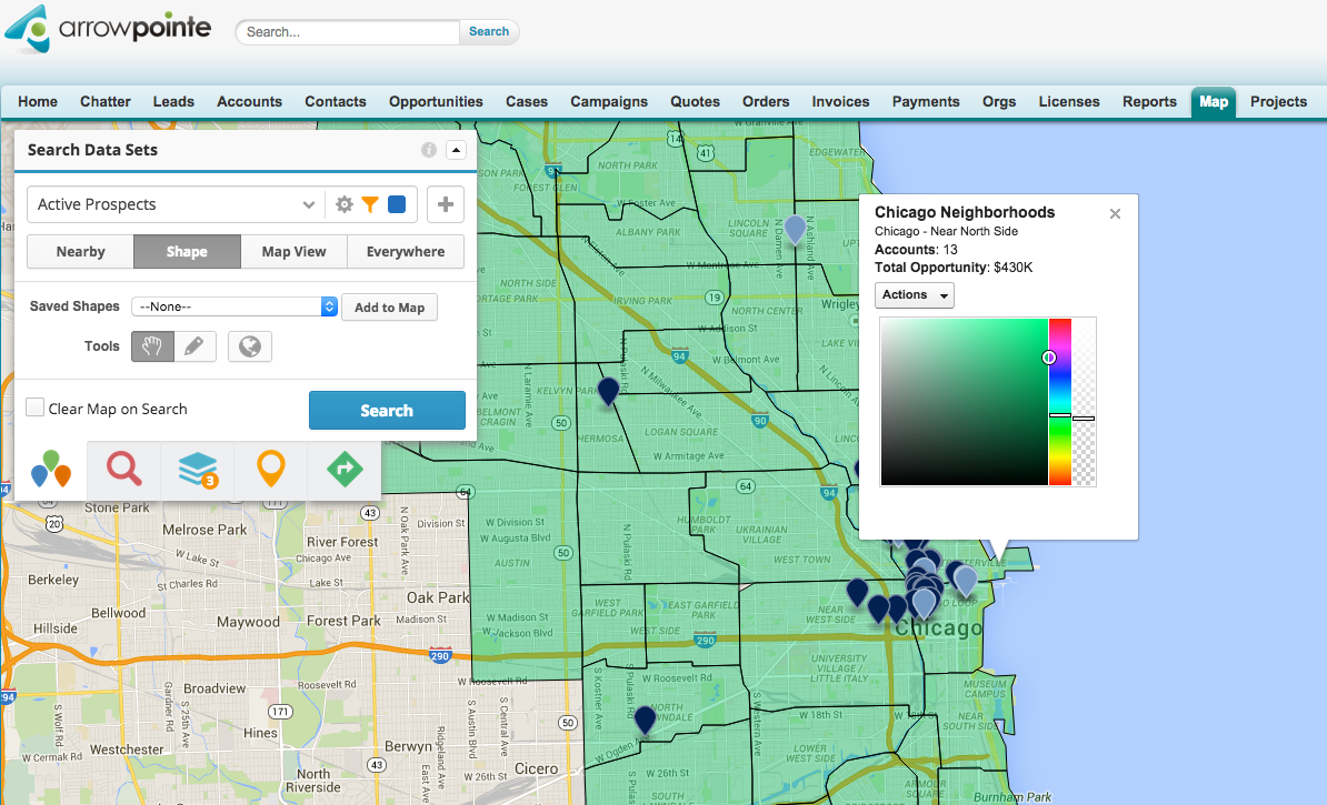 Google Geo Developers Blog Arrowpointe Gives Sales Teams Visual - Chicago map google maps