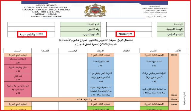 جدول الحصص السنتين الثالثة و الرابعة ابتدائي 2020-2021