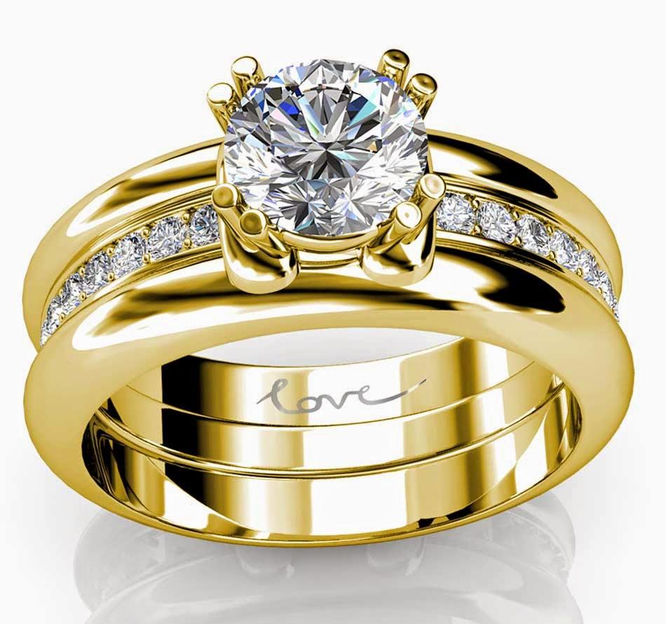 Trio Wedding Rings Sets Yellow Gold with Luxury Diamond