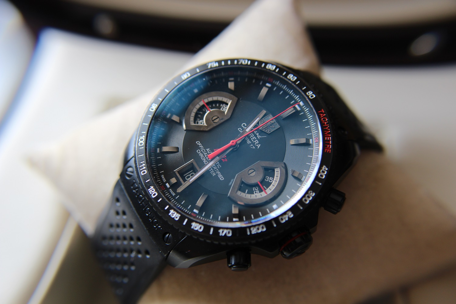 Tag heuer monaco automatic chronograph calibre 12 black dial 39 mm.