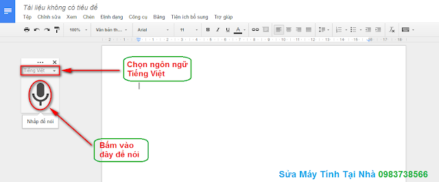 Soạn thảo văn bản bằng giọng nói trong Docs Google